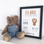Navneplakat med bjørn
