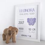 Navneplakat med lilla elefant